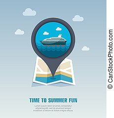 Cruise liner pin map icon. Summer. Vacation