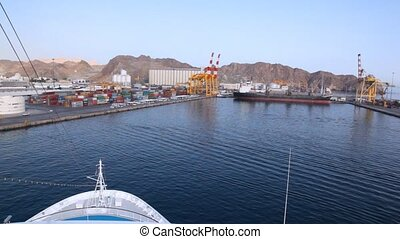 cruise liner sailing to seaport of Muscat, Oman