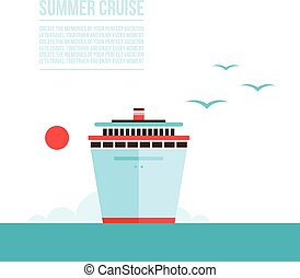 Cruise liner ship background Travel Tourism Vacation concept