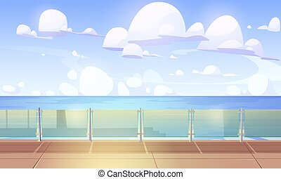 Cruise liner ship deck or quay with glass baluster