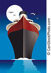 Cruise Liner Ship - Vector illustration of a cruise liner