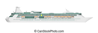 cruise liner side view isolated on white