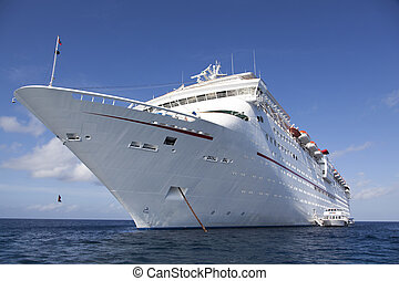 Cruise Liner - The anchored cruise liner with tender boats...