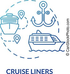 Cruise liners blue concept icon. Marine tourism with passenger ship. Luxury trip with water vessel. Boat voyage idea thin line illustration. Vector isolated outline RGB color drawing