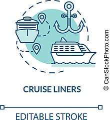 Cruise liners turquoise concept icon. Marine tourism with passenger ship. Trip with water vessel. Boat voyage idea thin line illustration. Vector isolated outline RGB color drawing. Editable stroke