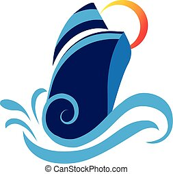 Cruise logo - Boat cruise waves beach and sun vector