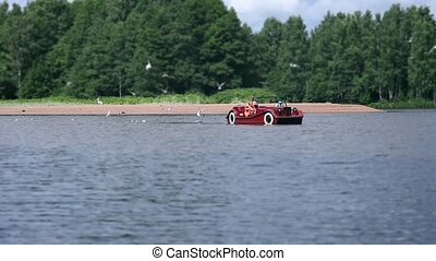 cruise on pedal boat on river - cruise on a pedal boat on...