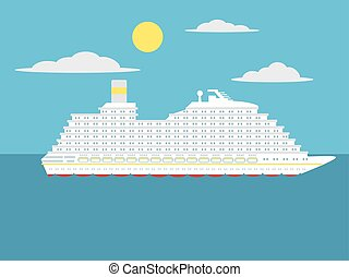 Cruise passenger ship cartoon vector illustration
