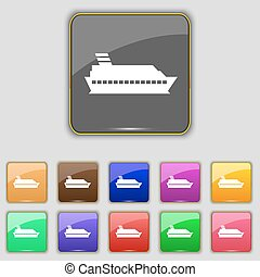 Cruise sea ship icon sign. Set with eleven colored buttons for your site. Vector