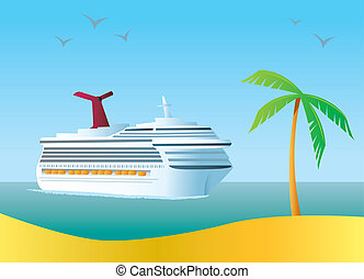 Cruise Ship - A cruise ship arriving at a tropical island ...