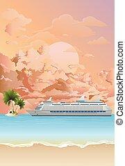 Cruise ship anchored at dawn