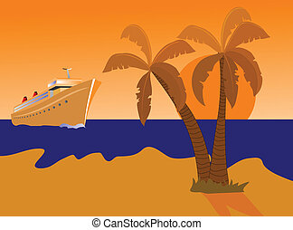 Cruise Ship and Desert Island - A vector illustration of a...
