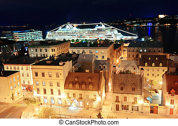 Quebec City - Cruise ship and lower town old buildings in...