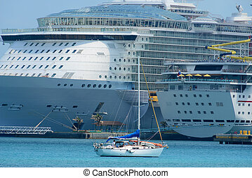 Cruise ship and yacht