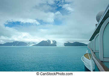 Cruise ship approaches the Endurance and other glaciers on...