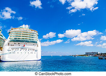Cruise Ship at Dock with Copy Space