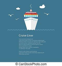 Cruise Ship at Sea and Text