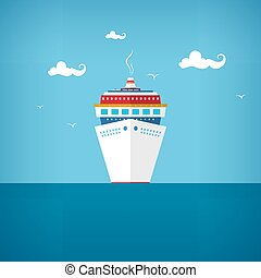 Cruise ship at sea or in the ocean in a sunny day