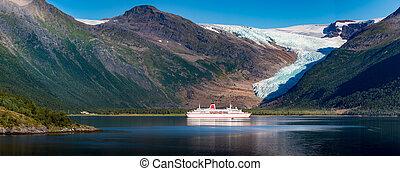 Cruise ship at Svartisen glacier in Norway