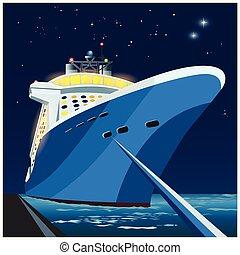 Cruise ship at the pier at night