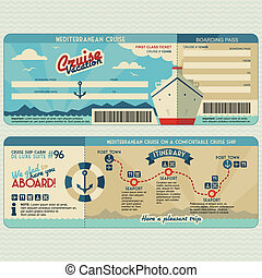 Cruise ship boarding pass flat graphic design template. Face and back side