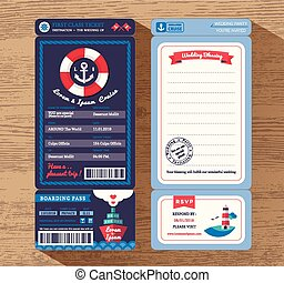 Cruise Ship Boarding Pass Ticket Wedding Invitation Template...