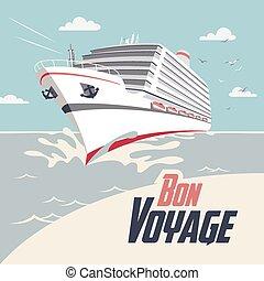 Cruise Ship Bon Voyage Illustration - Cruise ship...