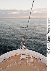 Cruise ship bow and sea