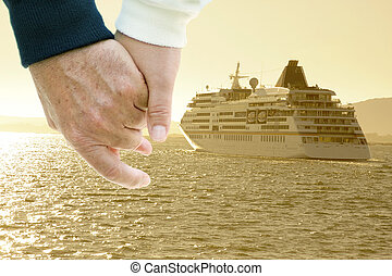 cruise ship by sea, travel and transportation