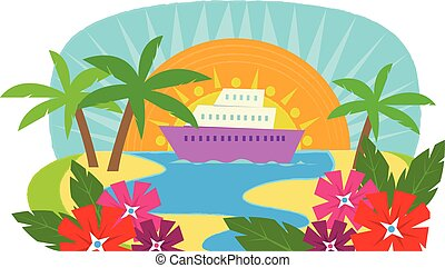Cruise Ship - Clip art of a cruise ship with a view of a...