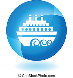 Cruise Ship - Cruise ship web button isolated on a...