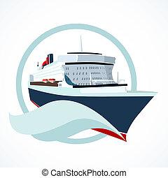 cruise ship - Cruise ship or liner symbol vector...