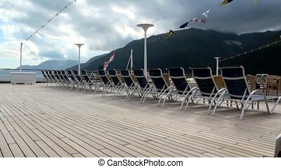 Cruise Ship Deck Chairs in Seward - Timelaps - Alaska - Travel Location Alaska USA