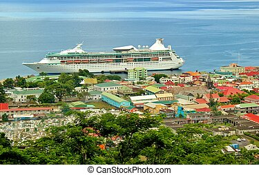 Cruise ship docked in Dominica