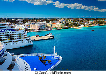 Cruise ship docked in Nassau Bahamas