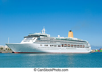 Cruise-ship - Elegant Cruise ship visiting Las Palmas,...