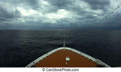 Cruise ship entering Cyclone Nilofar in the Arabian Sea