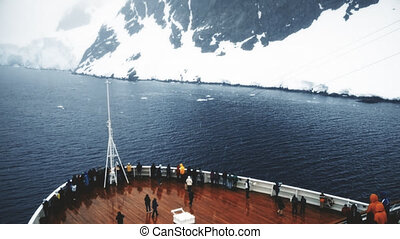 Cruise Ship Entering Lemaire Channel, Antarctica