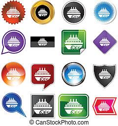 Cruise Ship - Cruise ship web button isolated on a...