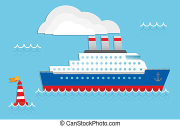 Cruise ship - Cruise liner, cruise ship vector illustration