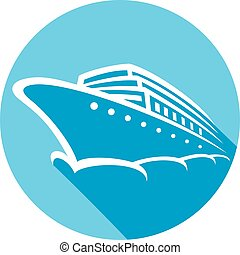 cruise ship flat icon
