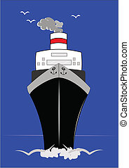 cruise ship - frontal view of ocean liner with horizon...