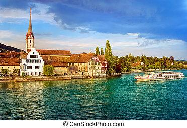 Cruise ship going down the Rhine river in Stein am Rhein, Switzerland