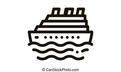 Cruise Ship Icon Animation. black Cruise Ship animated icon on white background
