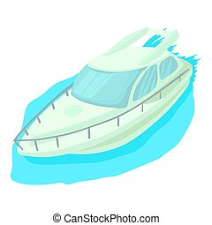 Cruise ship icon, cartoon style