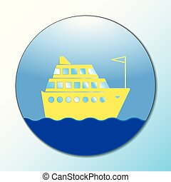 cruise ship icon on round internet button original vector illustration