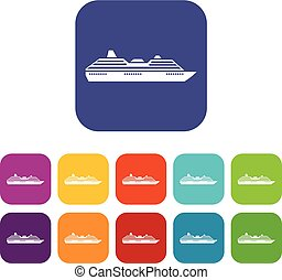 Cruise ship icons set