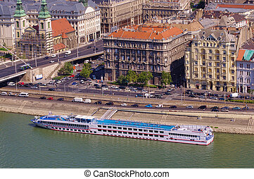 cruise ship in Budapest city, capital of Hungary