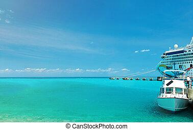 cruise ship in caribbean water