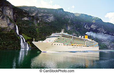 Cruise ship in fiord - Cruise liner in the Geiranger fjord ...